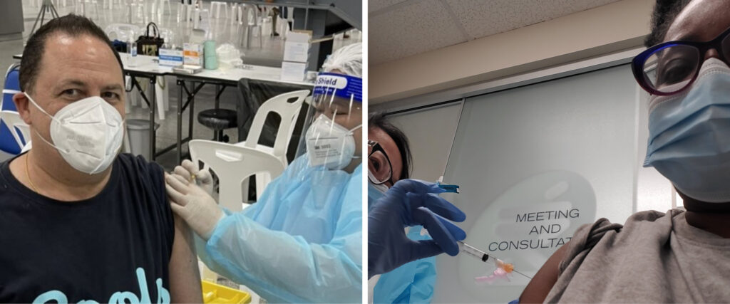 two side-by-side photos: Peter Newman and Notisha Massaquoi receiving their COVID-19 vaccine shots